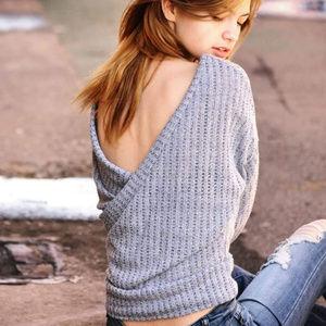 Women's Blue V-back Sweater